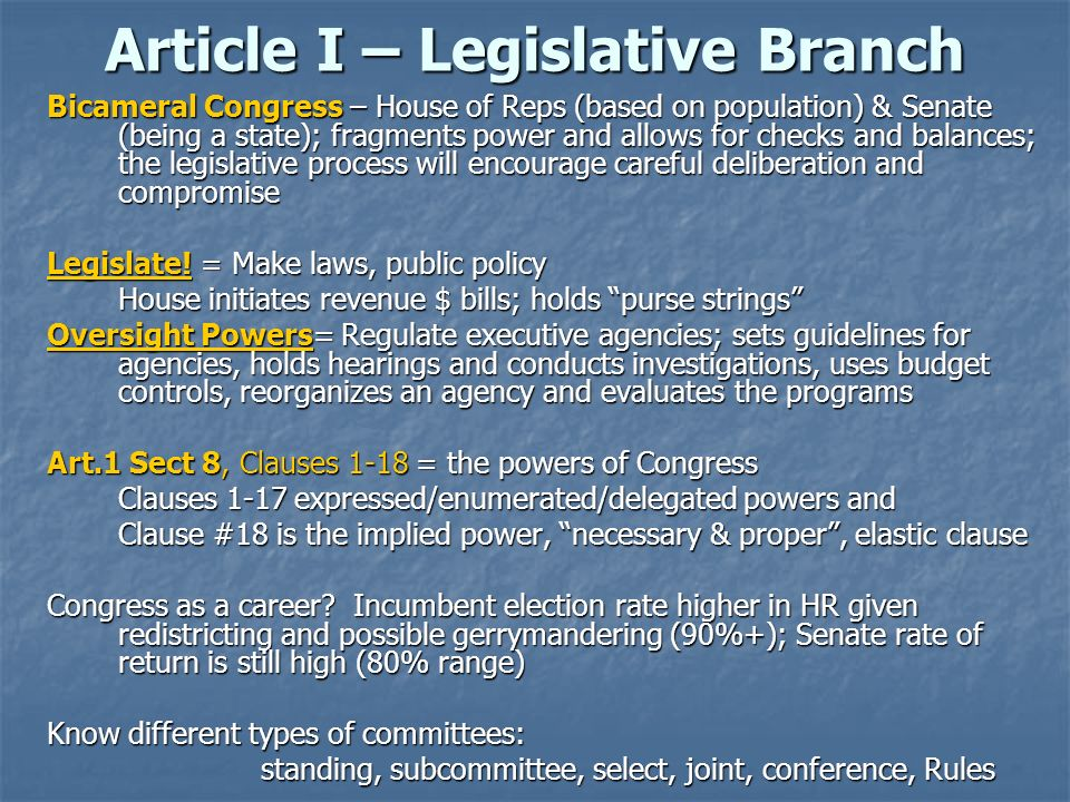 Article I – Legislative Branch