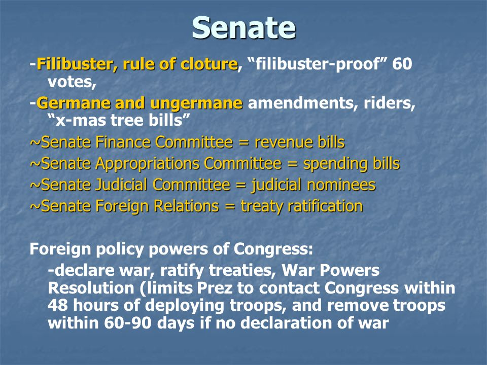 Senate -Filibuster, rule of cloture, filibuster-proof 60 votes,