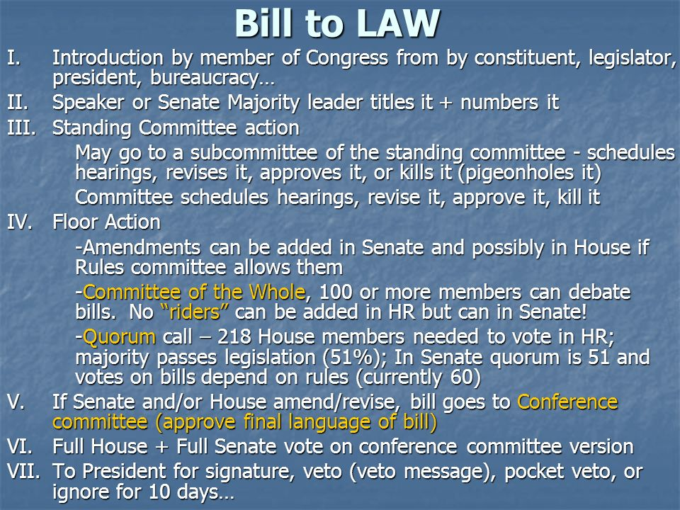 Bill to LAW I. Introduction by member of Congress from by constituent, legislator, president, bureaucracy…