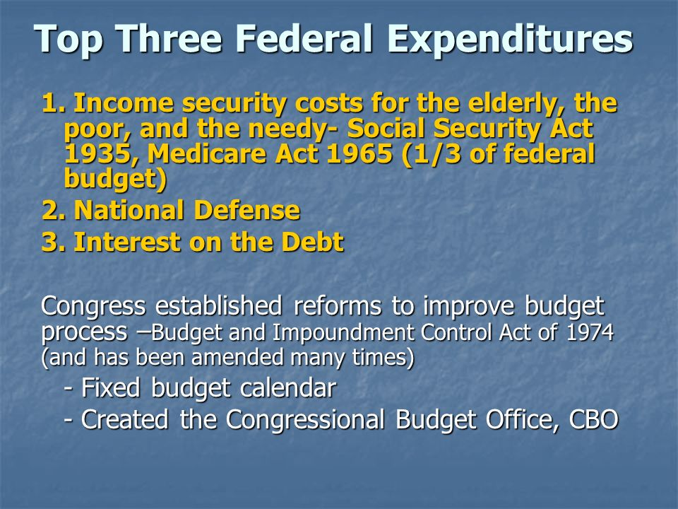 Top Three Federal Expenditures
