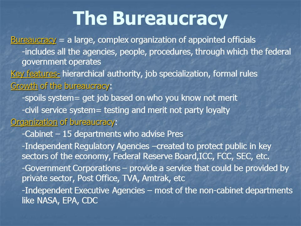 The Bureaucracy Bureaucracy = a large, complex organization of appointed officials.