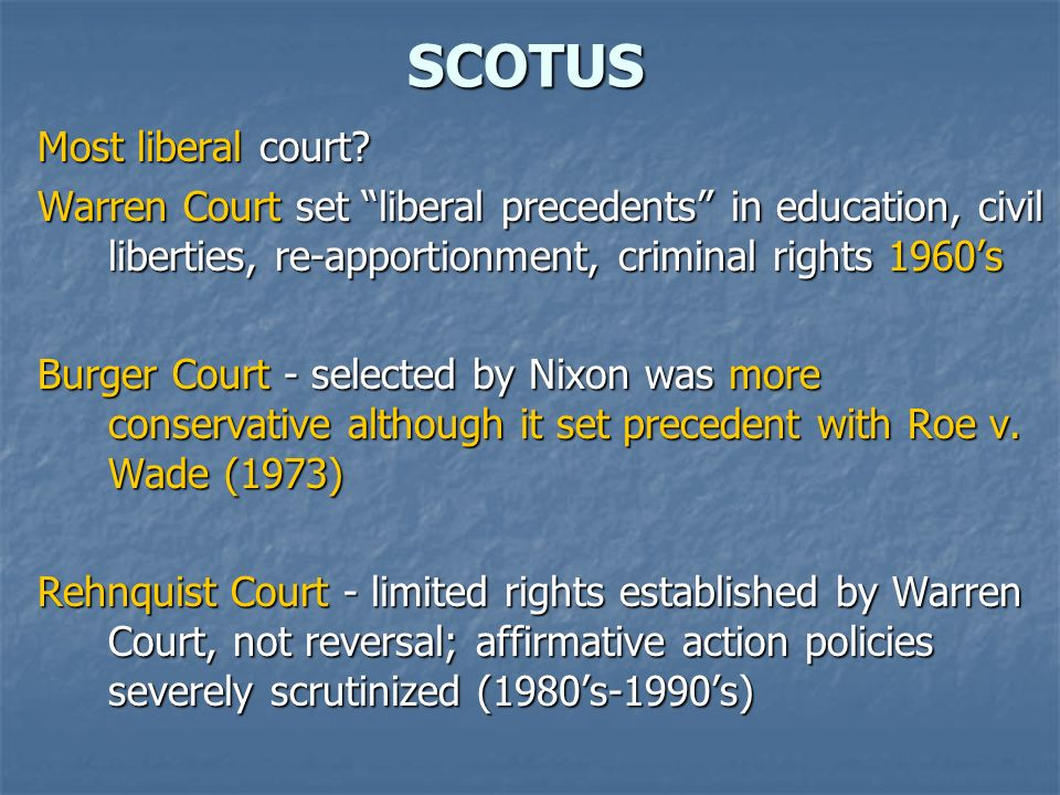 SCOTUS Most liberal court