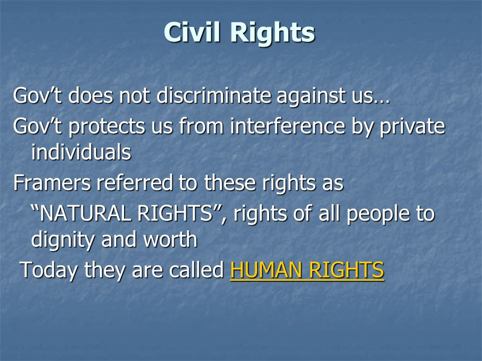 Civil Rights Gov't does not discriminate against us…