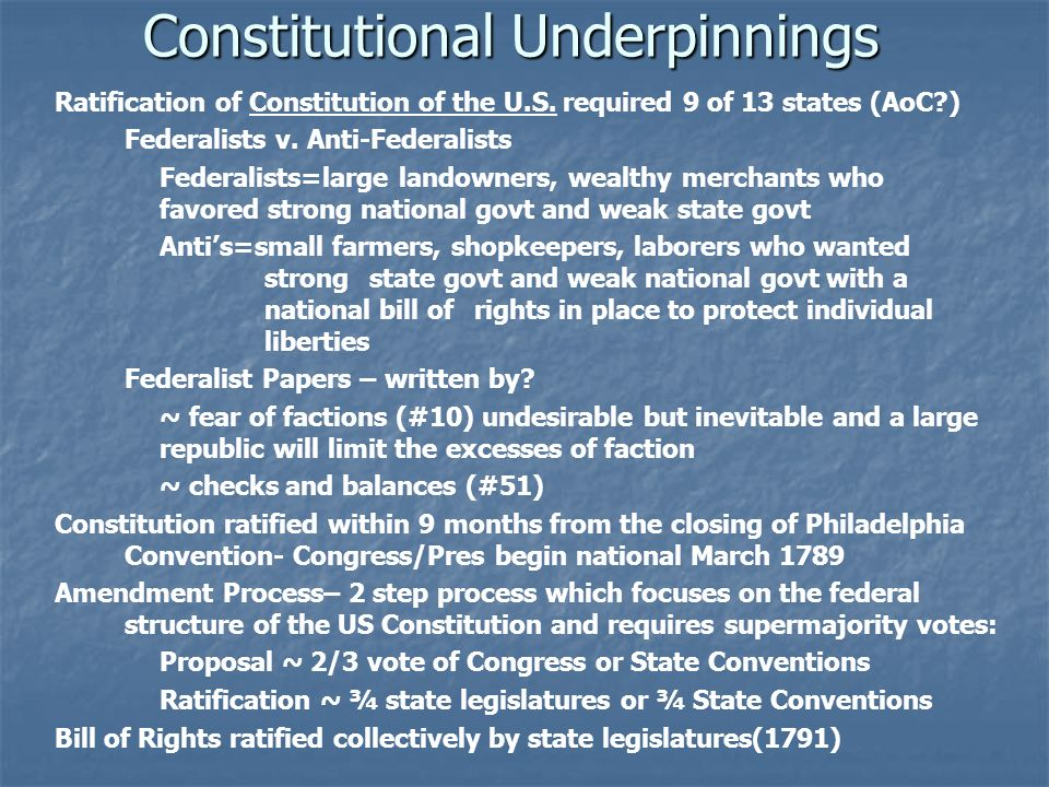 Constitutional Underpinnings