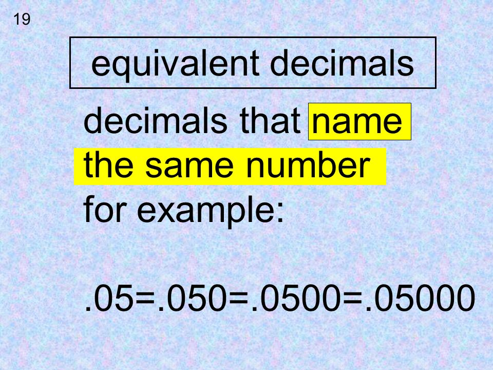 equivalent decimals decimals that name the same number for example: