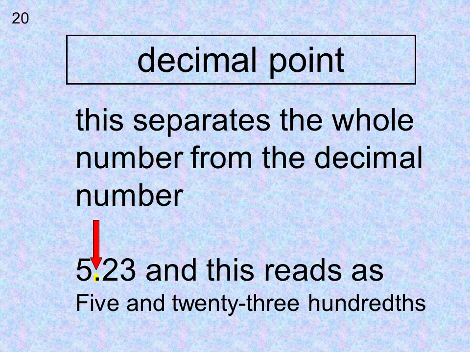 decimal point this separates the whole number from the decimal number