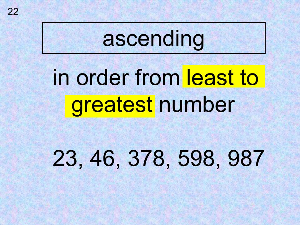 ascending in order from least to greatest number 23, 46, 378, 598, 987