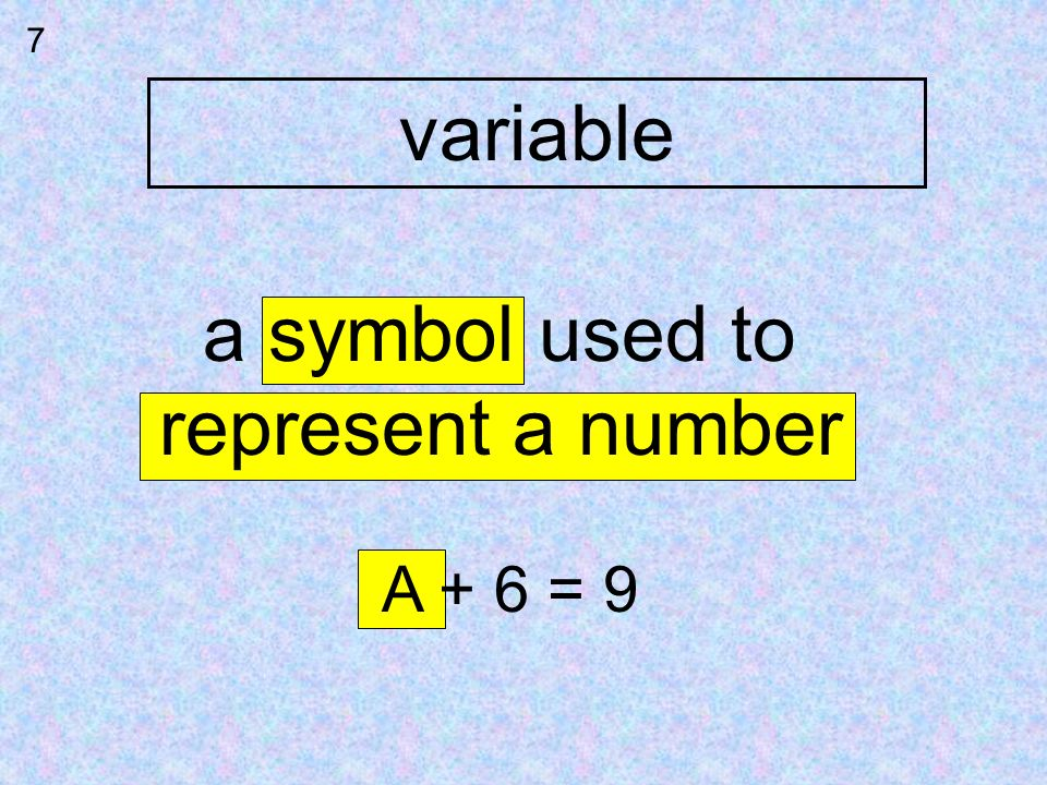 7 variable a symbol used to represent a number A + 6 = 9