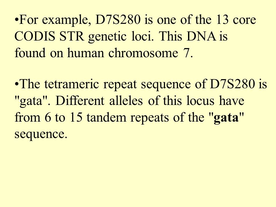 For example, D7S280 is one of the 13 core CODIS STR genetic loci