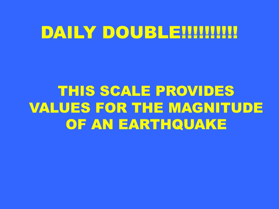 VALUES FOR THE MAGNITUDE