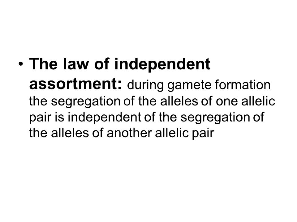 The law of independent assortment: during gamete formation the segregation of the alleles of one allelic pair is independent of the segregation of the alleles of another allelic pair