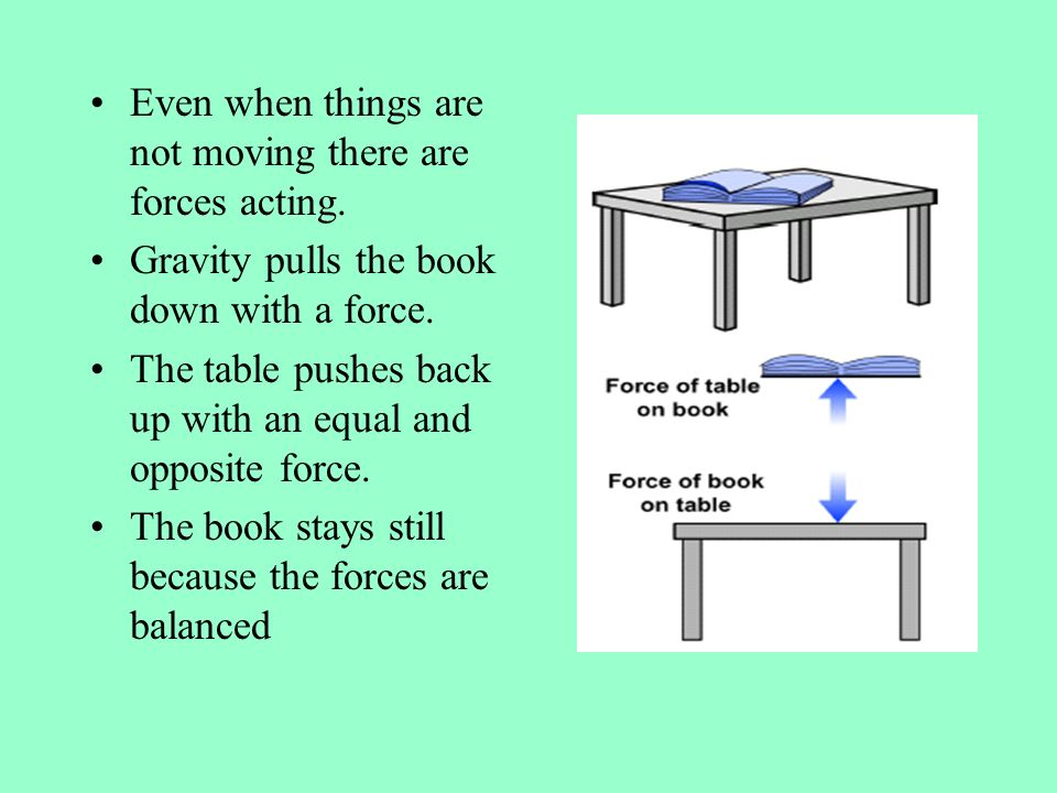 Even when things are not moving there are forces acting.