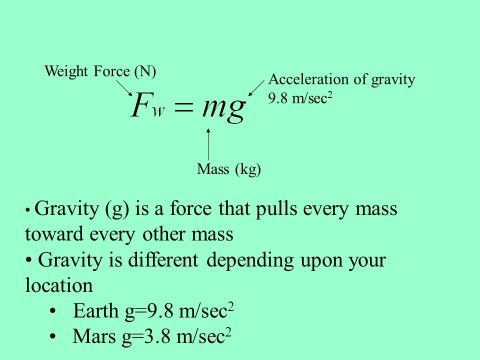 Gravity is different depending upon your location Earth g=9.8 m/sec2