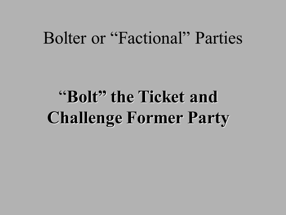 Bolter or Factional Parties