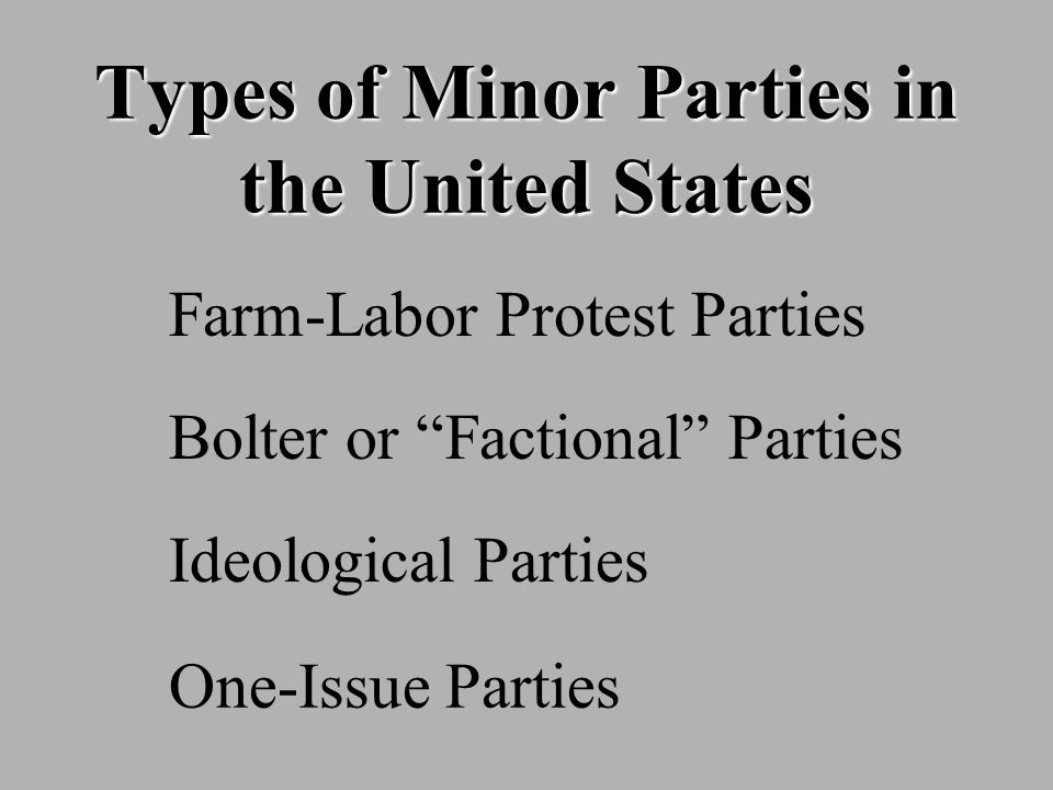 Types of Minor Parties in the United States