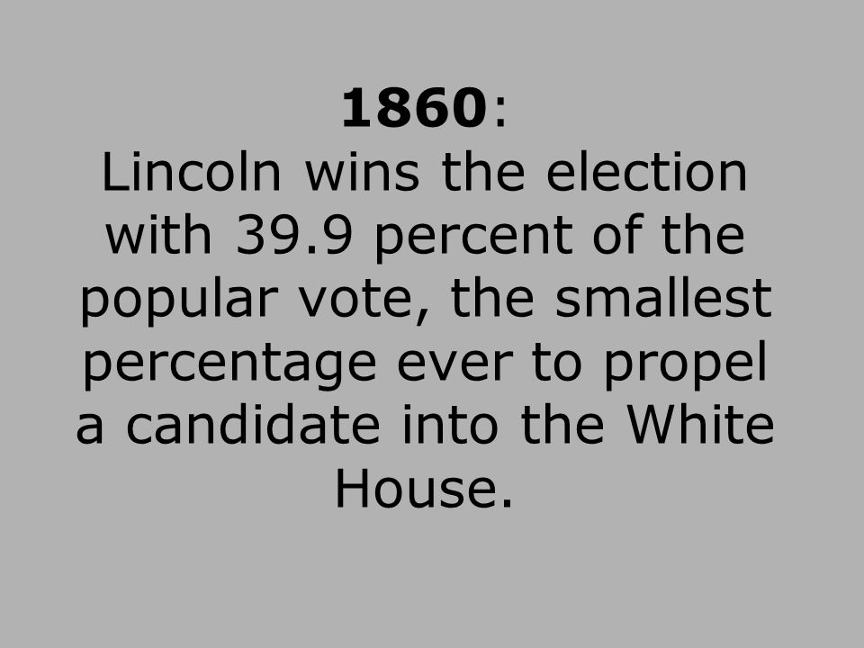 1860: Lincoln wins the election with 39