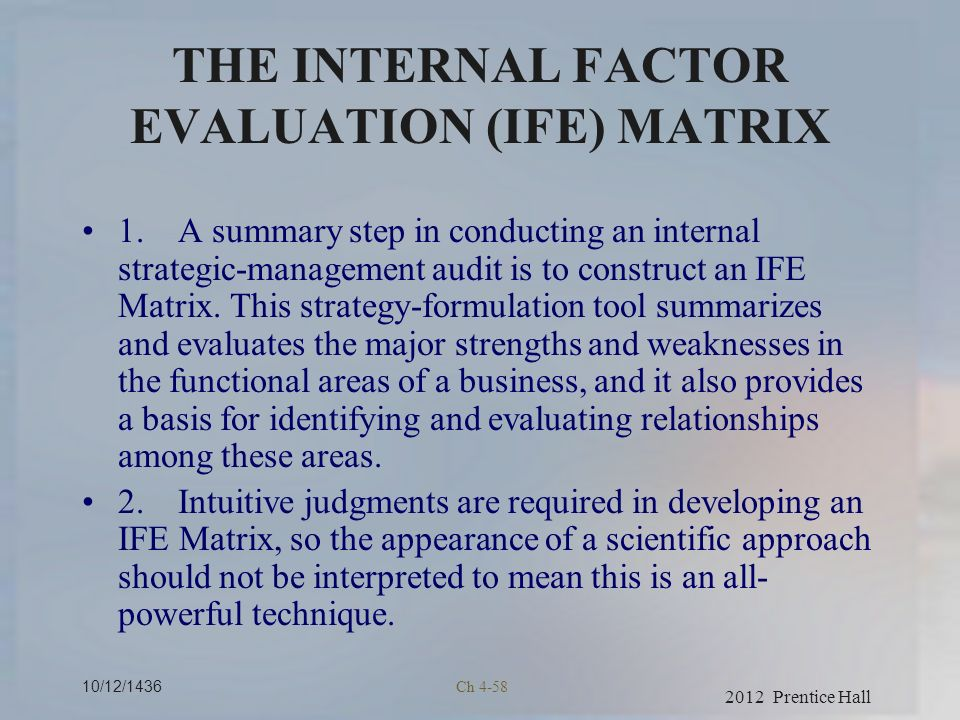 The internal factor evaluation matrix of hershey s