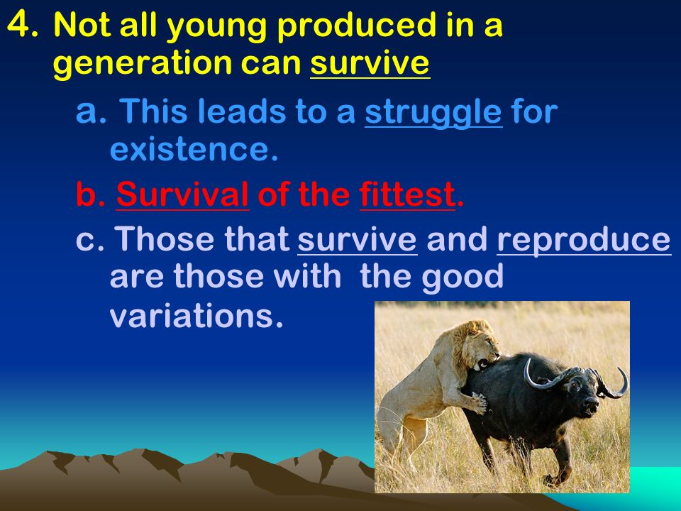 4. Not all young produced in a generation can survive