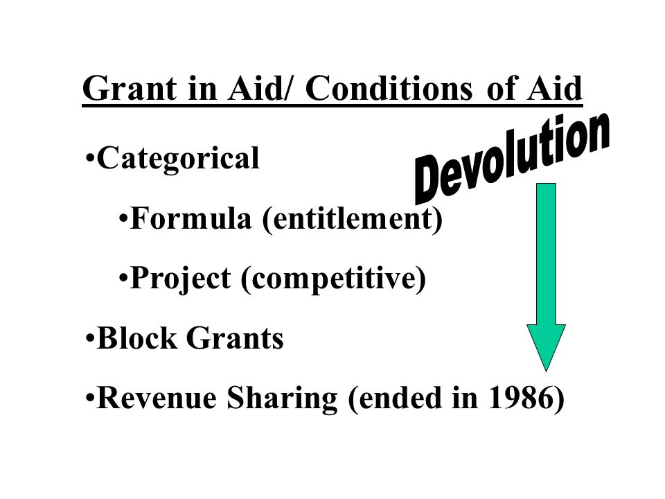 Grant in Aid/ Conditions of Aid