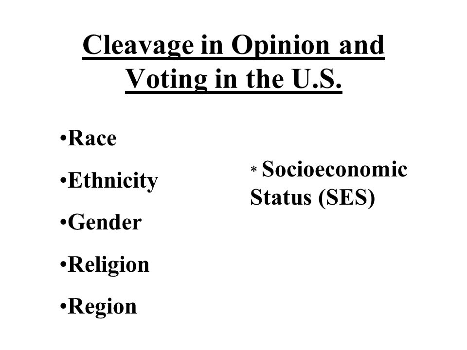 Cleavage in Opinion and Voting in the U.S.