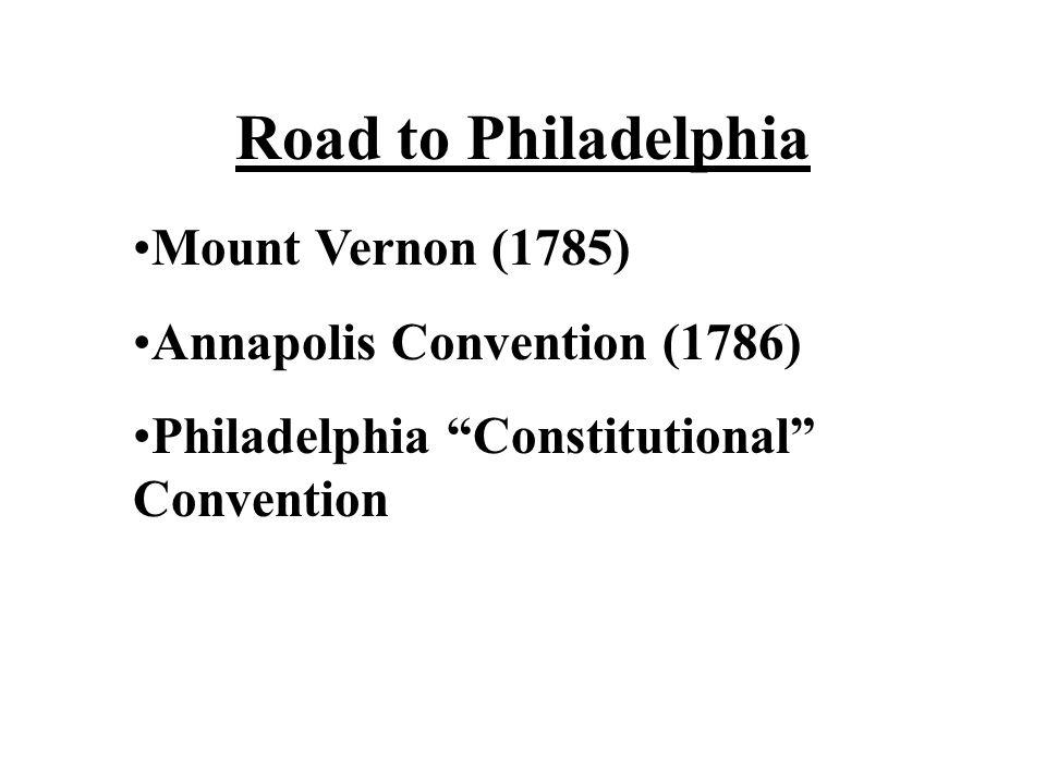 Road to Philadelphia Mount Vernon (1785) Annapolis Convention (1786)