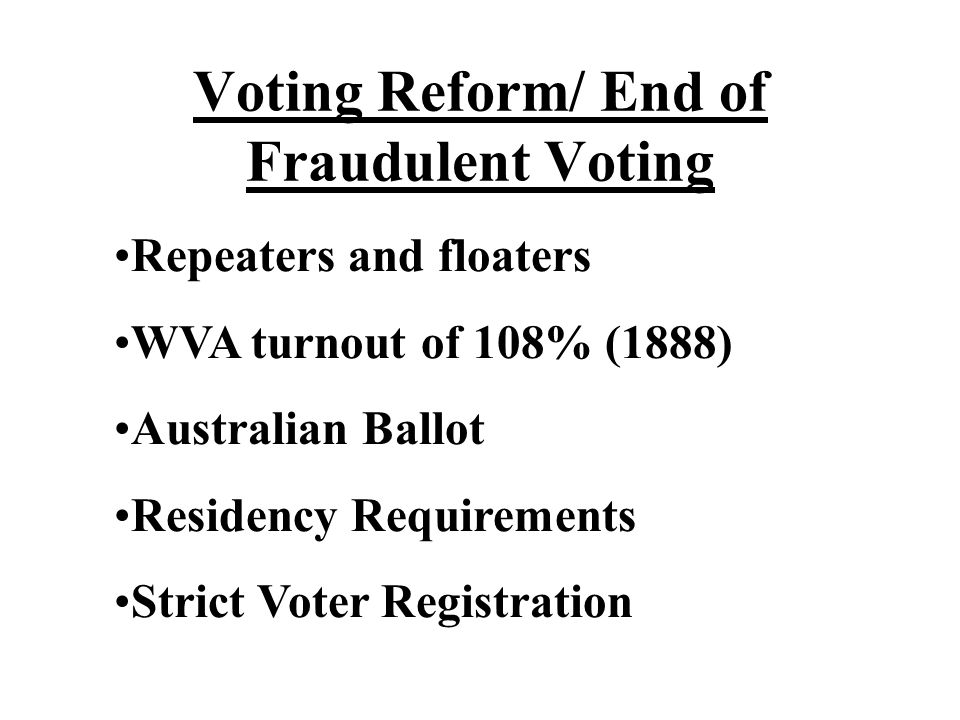 Voting Reform/ End of Fraudulent Voting