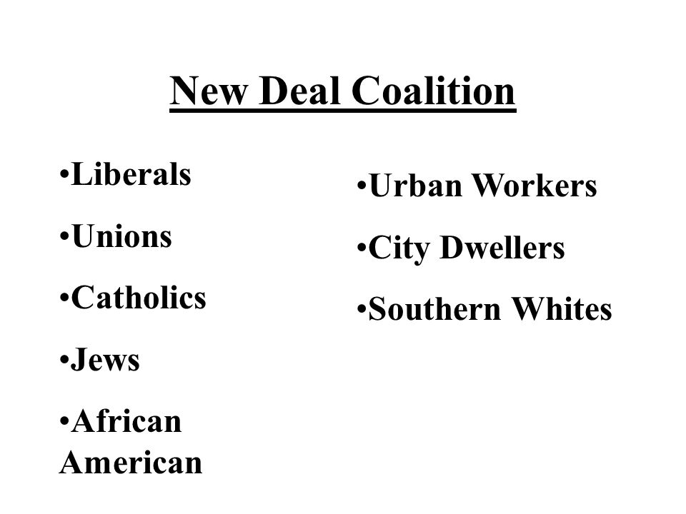 New Deal Coalition Liberals Urban Workers Unions City Dwellers