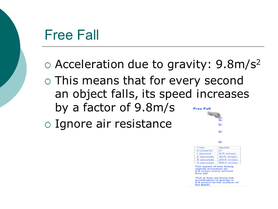 Free Fall Acceleration due to gravity: 9.8m/s2