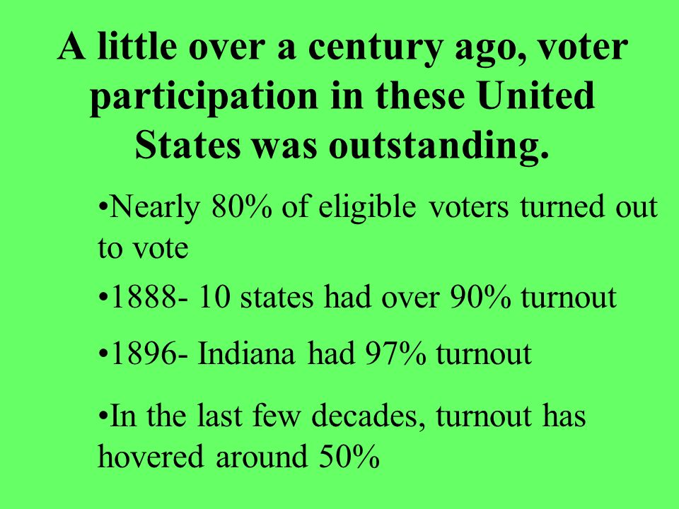 A little over a century ago, voter participation in these United States was outstanding.