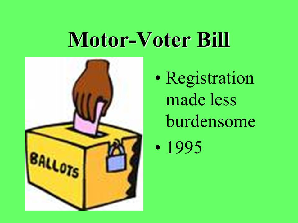 Motor-Voter Bill Registration made less burdensome 1995
