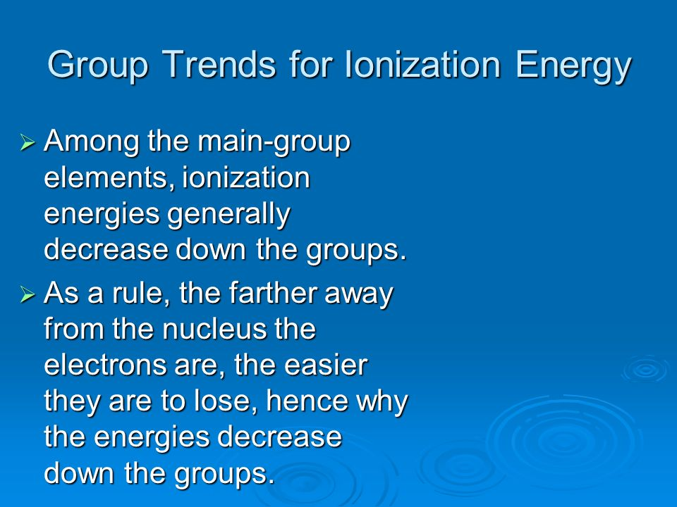 Group Trends for Ionization Energy