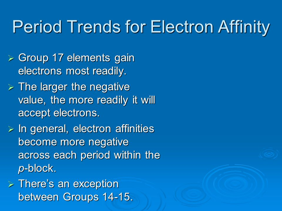 Period Trends for Electron Affinity