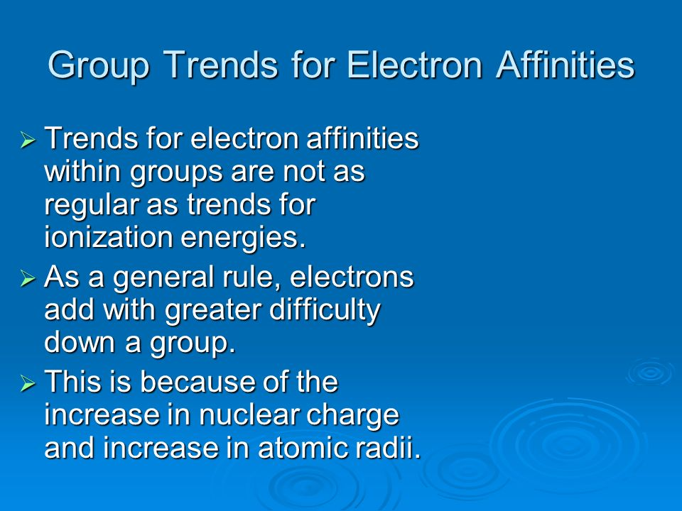 Group Trends for Electron Affinities