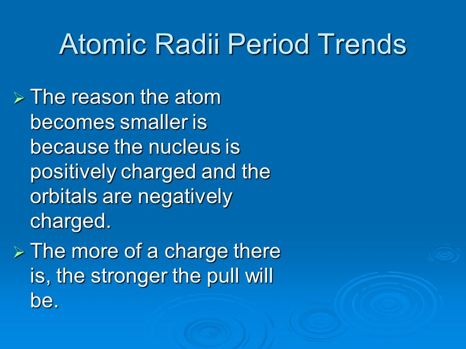 Atomic Radii Period Trends