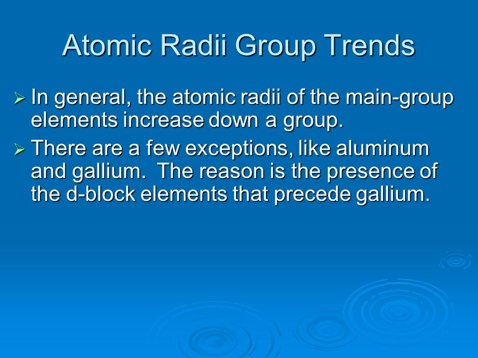 Atomic Radii Group Trends
