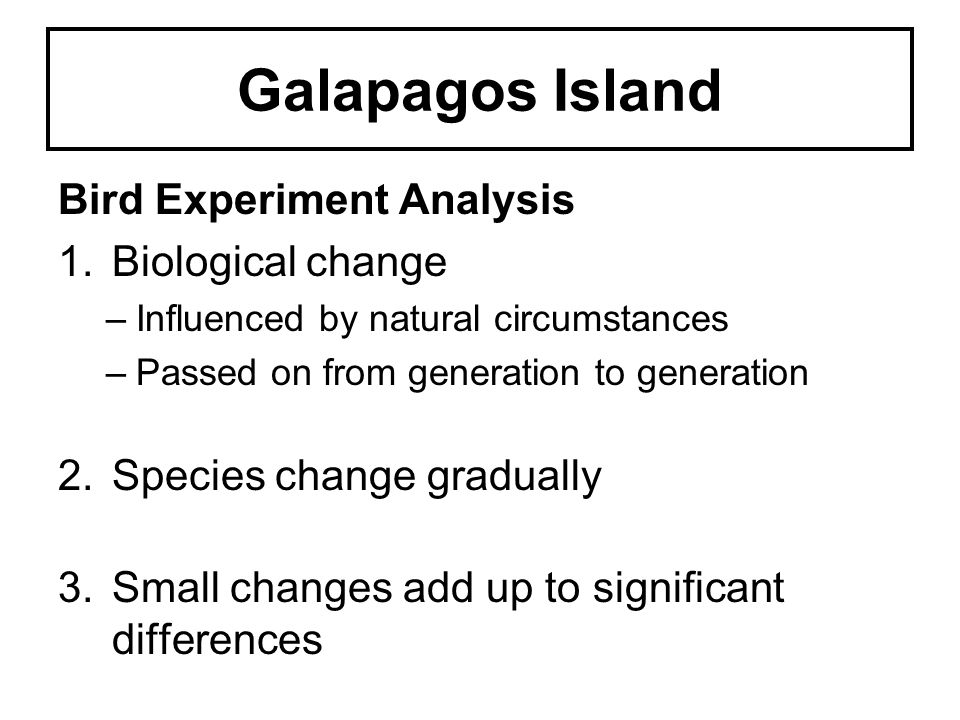 Galapagos Island Bird Experiment Analysis Biological change