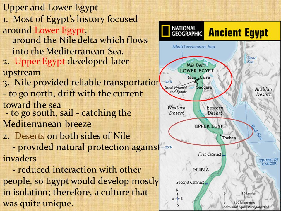 Ancient Egypt Look at the picture of the Nile River taken from