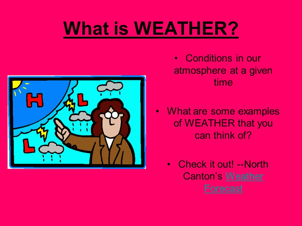 What is WEATHER Conditions in our atmosphere at a given time
