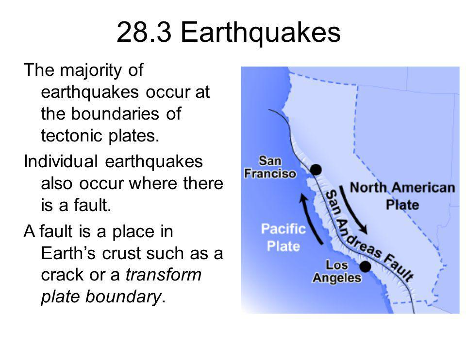 28.3 Earthquakes The majority of earthquakes occur at the boundaries of tectonic plates. Individual earthquakes also occur where there is a fault.