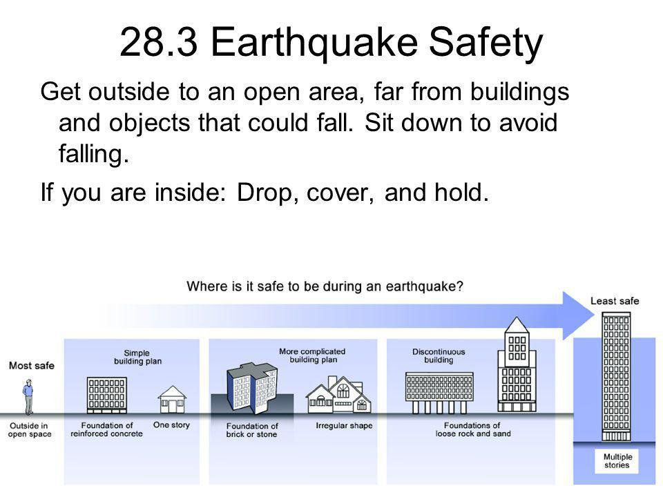 28.3 Earthquake Safety Get outside to an open area, far from buildings and objects that could fall. Sit down to avoid falling.