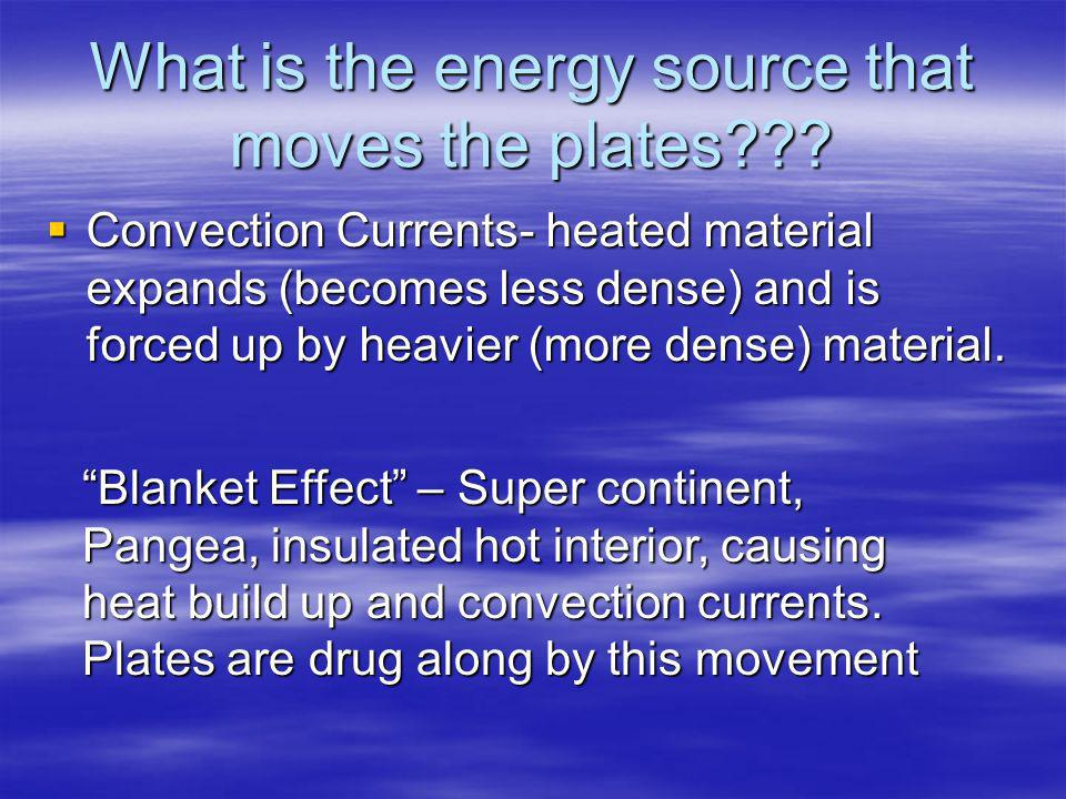 What is the energy source that moves the plates