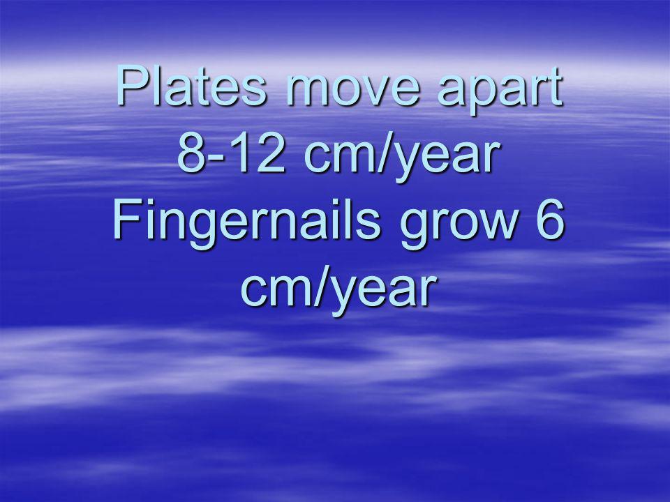 Plates move apart 8-12 cm/year Fingernails grow 6 cm/year