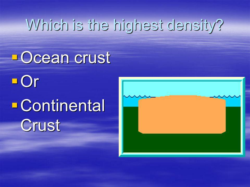 Which is the highest density