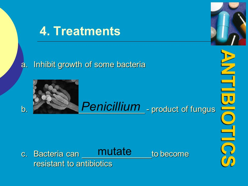 ANTIBIOTICS 4. Treatments Penicillium mutate
