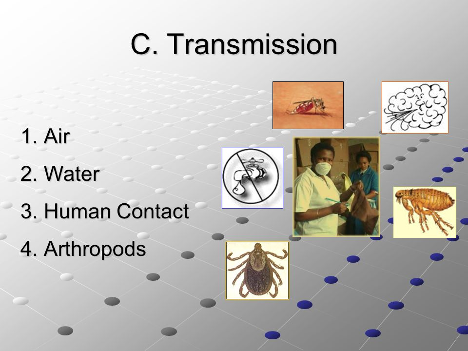 C. Transmission Air Water Human Contact Arthropods C. Transmission