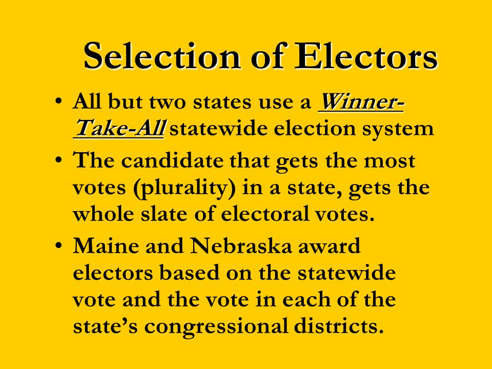 Selection of ElectorsAll but two states use a Winner-Take-All statewide election system.