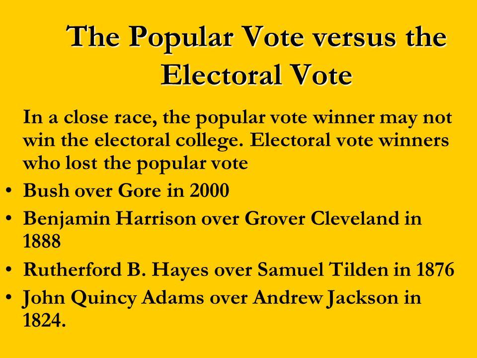 The Popular Vote versus the Electoral Vote