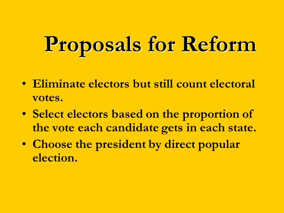 Proposals for Reform Eliminate electors but still count electoral votes.