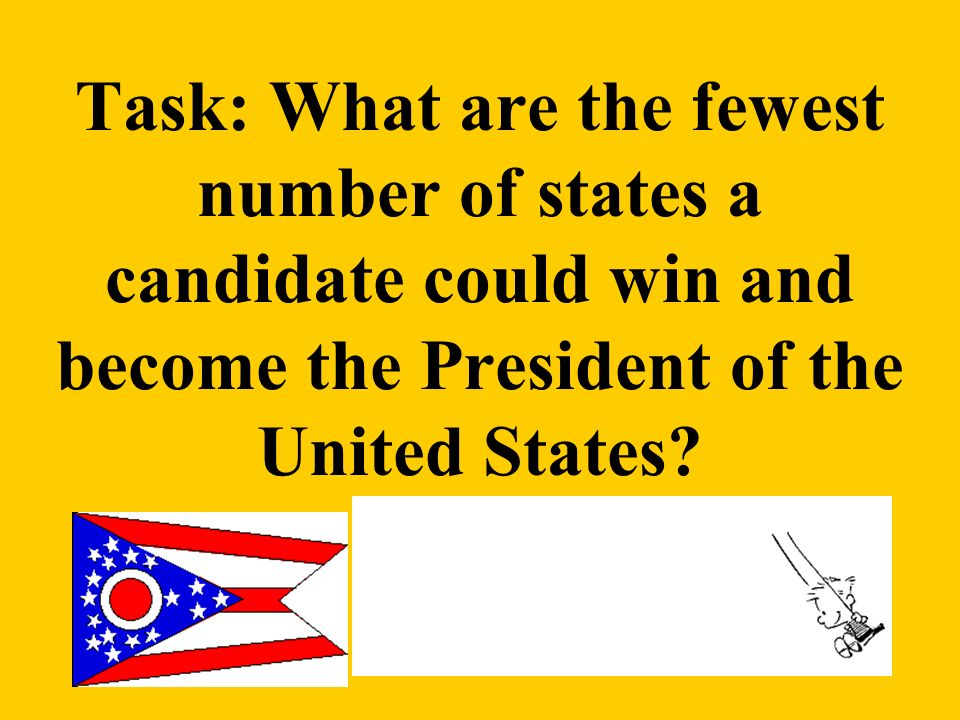Task: What are the fewest number of states a candidate could win and become the President of the United States