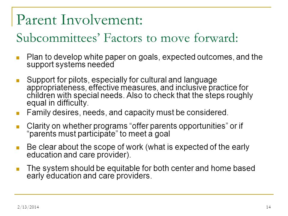 Parent Involvement: Subcommittees' Factors to move forward: